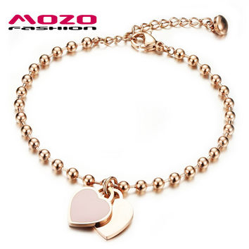 New Fashion Women Party Jewelry Double Heart Pendant Rose Gold Plated Stainless Steel Bracelets Bead Chain Woman Bracelet MGS807
