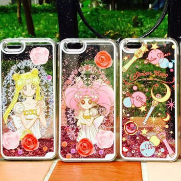 Cute Anime Sailor Moon Phone Case Transparent Funda Case For Coque iphone 6 6 s 7 plus Bling Liquid Quicksand Cover Capa Para