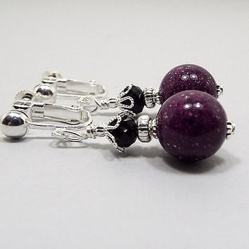 Purple Earrings, Purple and Black, Drop Earrings, Silver Plated, Glitter Sparkly Vintage Lucite Beads, Clip on Earrings Lever Back Hook