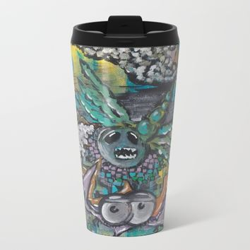 Abstract Pastel Bat/Dragonfly Acrylic Artwork Metal Travel Mug by Beatreaper