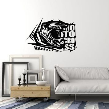 Vinyl Wall Decal Motocross Rider Helmet Word Extreme Sports Decoration Stickers Mural (ig6036)