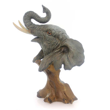 "Animal Elephant Bust 11"" Tall Figurine"