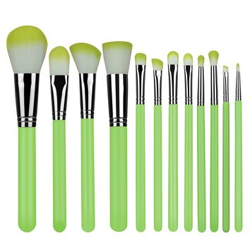 Makeup Brushes 12 Pieces Set Synthetic Foundation Blending Blush Powder Concealers Makeup Brush Set Eyeliner Face Brush Makeup Brushes Kit Cream Cosmetics Brushes Green