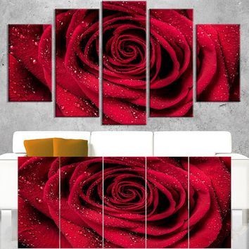 Red Rose Petals with Rain Droplets - Floral Canvas Art Print | Overstock.com Shopping - The Best Deals on Gallery Wrapped Canvas