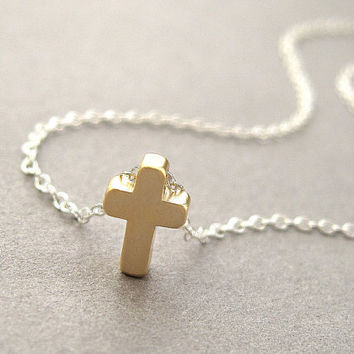 Cross necklace, gold, sterling silver chain, tiny small simple dainty petite minimalist