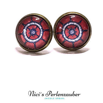 Ear plug steering wheel red blue cabochon studs 12 mm maritim earrings bronze glass Pearl studs earrings ear jewelry handmade