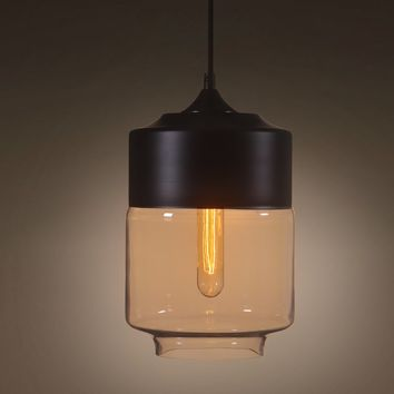 Amber 1 Light Lantern Glass Pendant Lighting