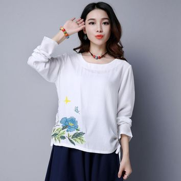 Vintage Embroidery Women Blouses and Tops 2017 Loose Cotton Linen Blouse Kimono Shirt Women Clothing Ladies Casual Tops Blusas