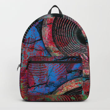 Red music speakers on a cracked wall Backpack by steveball