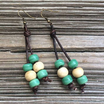 Leather Earrings, Beaded Earrings, Bohemian Earrings, Hippie Earrings, Crow Beads, Casual Earrings, Gypsy Earrings, Native American, Ethnic