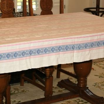 Vintage Tablecloth Rectangular Blue and Pink Stripe | Retro Table Cover | Oblong Cotton Tablecloth 50's to 60's | Vintage Table Linen