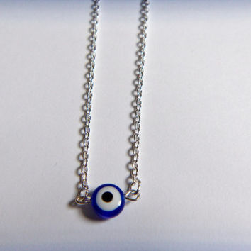 Evil Eye Necklace Silver and Blue, Minimalist Jewelry, Dainty Necklace