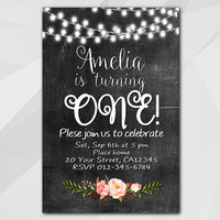 1st Birthday invitation, String Lights Chalkboard Birthday Invitation, 13th 18th 21st 30th 40th 50th, Custom invitation XA003c