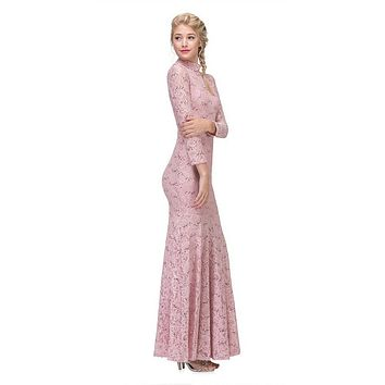 Long Sleeve Lace Full Length Dress Dusty Pink Mock 2 Piece High Neck