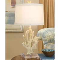 White Coral Lamp on Lucite Base