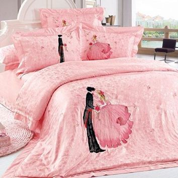 Romantic Lovers Embossed Pink Wedding Style Luxury 4-Piece Cotton Bedding Sets/Duvet Cover