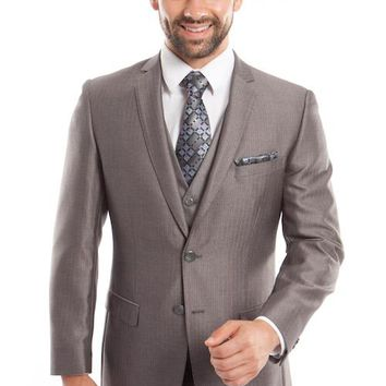 Men's Light Grey Three Piece Herringbone Slim Fit Vested Suit