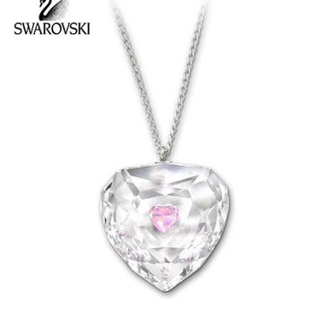 Swarovski Pink & Clear Crystal TRUTHFUL Heart Pendant Necklace Rhodium #1152184