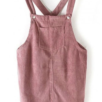 Corduroy Plain One Pocket Mini Overall Dress