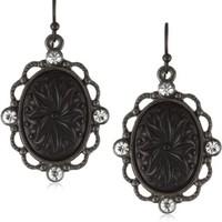 1928 Jewelry Victorian Gothic Black Acrylic Oval Drop Earrings