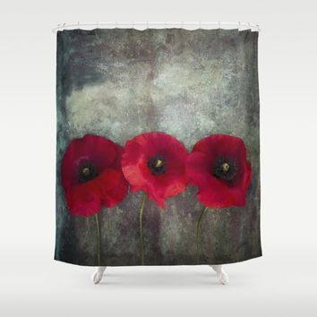 Three red poppies Shower Curtain by Maria Heyens