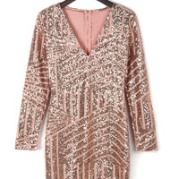 Pink Deep V-neck Sequins Long Sleeve Bodycon Dress