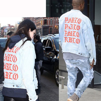 Kanye West Pablo Light Blue Denim Jacket