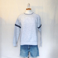 Vintage Deadstock 80s BLANK SWEATER Plain Super Soft Stylish Grey Medium Acrylic Blend Jumper Crewneck SWEATSHIRT