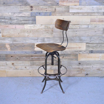 Vintage Toledo Drafting Chair, Adjustable Industrial Stool, Counter Stool