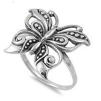 925 Sterling Silver Intricate Butterfly Bloom Ring