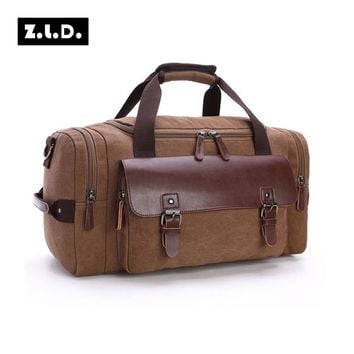 Z.L.D Original Canvas Leather Travel Bags Men Canvas Hand Luggage Duffel  Bags Travel Bags Large Tote Weekend Bag During Night