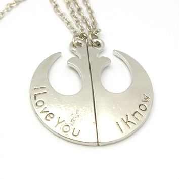 Freeshipping 1 pair Star Wars Rebel Insignia Love couples Necklace I Love You I Know Letter Double Chain Necklace