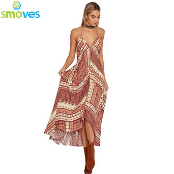 Smoves Spagehetti Strap V Neck Floral Print High Low Women Maxi Long Dress High Slit Low Back Beach Bohemian Dresses New