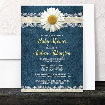 Daisy Baby Shower Invitations - Burlap Lace Rustic Country Denim Floral - Yellow Blue Beige - Printed Invitations