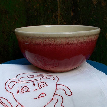 Vintage Red Mixing Bowl - 1940s Pottery Spatterware - Retro and Cottage Decor