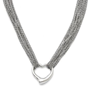 Stainless Steel Multi Strand Polished Heart Toggle Necklace