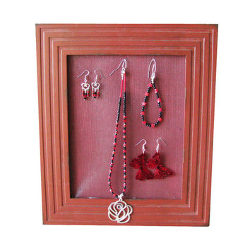 Cayenne Red Jewelry Display Picture Frame Earring Holder Large Jewelry Holder Wall Crimson Jewelry Storage Stud Post Earring Organizer