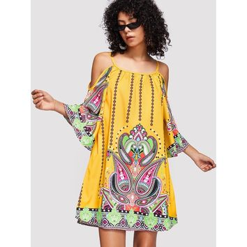Multicolor Tribal Print Kimono Sleeve Dress