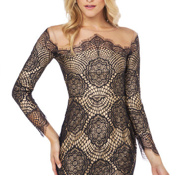 Floral Cutout Long Sleeve Lace Crochet Mini Bodycon Dress