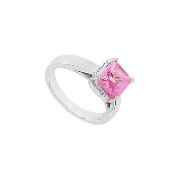 Pink Topaz and Diamond Ring : 14K White Gold - 1.00 CT TGW