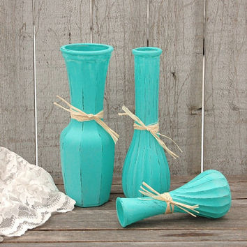Painted Vases, Shabby Chic, Tiffany Blue, Aqua, Raffia, Hand Painted, Distressed, Glass, Vase Set,