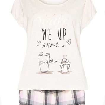 Pink Wake Me Up With Coffee Pyjama Set