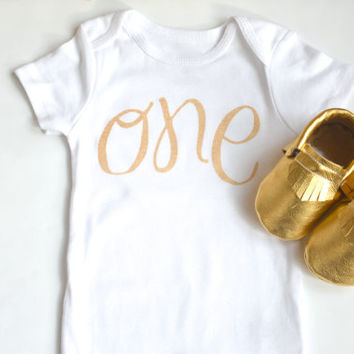 Gold ONE Onesuit & gold moccasin set, First Birthday, Birthday, Birthday, One, 1, Babies/Toddler, Moccs, Moccasins, Birthday outfit, Gold