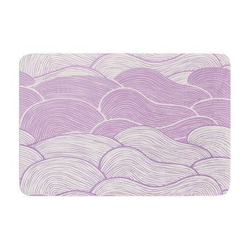 "Pom Graphic Design ""The Lavender Seas"" Purple Waves Memory Foam Bath Mat"