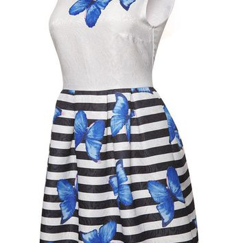 Casual Butterfly Printed Striped Round Neck Skater Dress