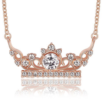 Rose Gold Plated Jewel Princess Tiara Necklace