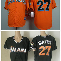 Miami Marlins 27 Mike Stanton Baseball Jerseys Sports Team Color Game Orange Black Fashion Embroidery And Sewing Logo