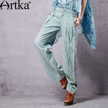 Artka Women's Vintage Washed Jeans 2015 Spring Embroidery Decorate Loose Style Fashion Lady Wide Leg Pants KN14451C