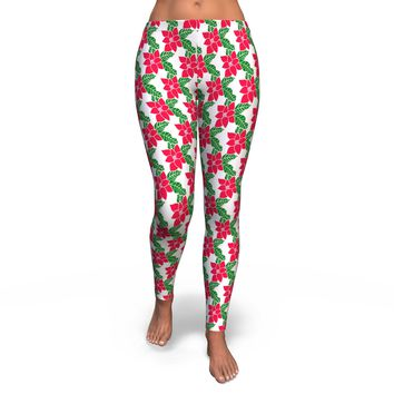 Poinsettia Christmas Leggings