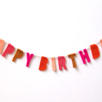 Happy Birthday felt banner, party banner in red, dreamsicle, coral, texas orange and hot pink